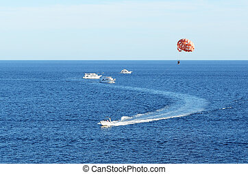 Parasailing at the resort, Sharm el Sheikh, Egypt