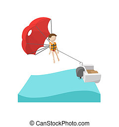 parasailing, caricatura, icono