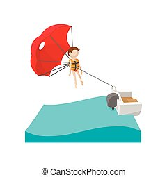 Parasailing cartoon icon