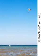 Parasailing on Sea of Azov, Taman Peninsula, Russia