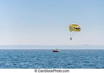 Parasailing over the Adriatic Sea