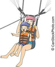 parasailing, ragazzo, mamma, capretto