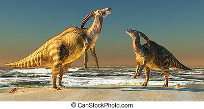 Parasaurolophus Beach - Two Parasaurolophus dinosaurs bellow...