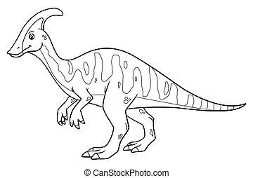 Parasaurolophus Cartoon BW