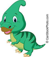 parasaurolophus, dinosaure, mignon, carto