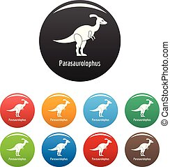 Parasaurolophus icons set color vector - Parasaurolophus...