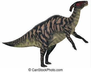 Parasaurolophus Striped on White - Parasaurolophus was a...