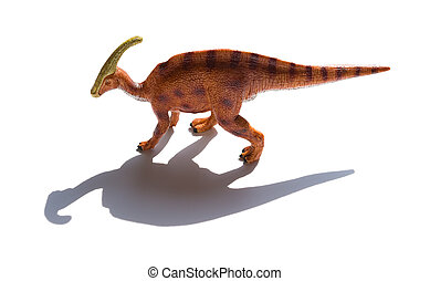 Parasaurolophus toy with shadow on a white background