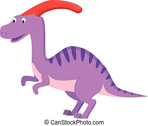 Parasaurolophus vector illustration in cartoon style for kids. Dinosaurs Collection.