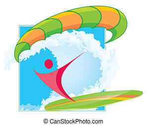 paraserfing icon - abstract surfer silhouette with paraplane...