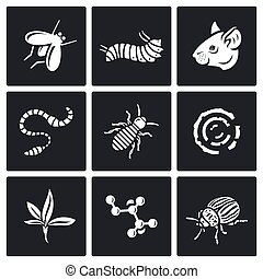 Parasites icons set. Vector Illustration. - Vector Isolated...