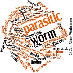 Parasitic worm - Abstract word cloud for Parasitic worm with...