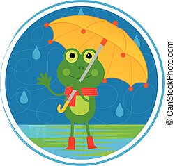 parasol, żaba
