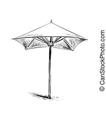 Parasol. Beach Umbrella. Hand Drawn Sketch Vector illustration