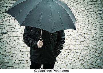 parasol, człowiek
