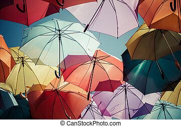 parasol, decoration., ulica, tło, barwny