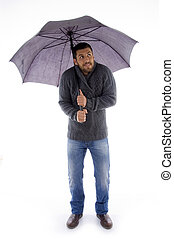 parasol, do góry, patrząc, dzierżawa, przód, człowiek, prospekt