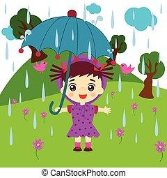 parasol, dzieciaki, reputacja, sprytny