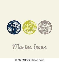 Parasol, Fins, Ice cream Marine Retro Icons