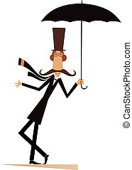 parasol, górny, odizolowany, kapelusz, wąsy, człowiek