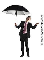 parasol, handlowy, czarnoskóry, asian, dzierżawa, człowiek