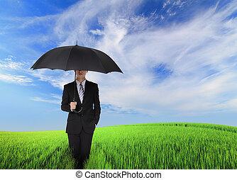 parasol, handlowy, czarnoskóry, dzierżawa, poważny, człowiek