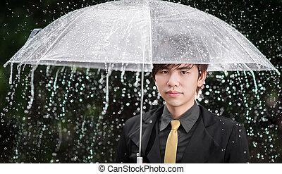 parasol, handlowy, deszcz, dzierżawa, mądry, człowiek