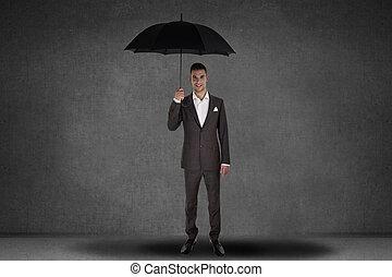 parasol, handlowy, dzierżawa, człowiek