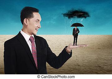 parasol, handlowy, dzierżawa, mały, używając, człowiek