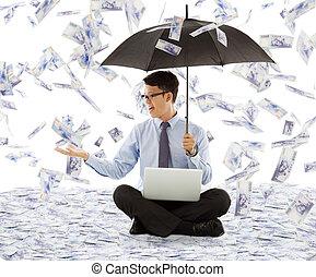 parasol, handlowy, pieniądze, uchwyt, dzierżawa, człowiek