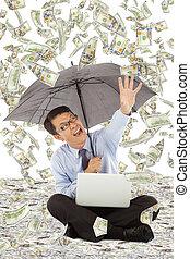 parasol, handlowy, pieniądze, uchwyt, dzierżawa, człowiek, szczęśliwy
