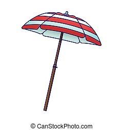 parasol, icône, plage