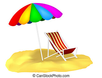 Illustration of the parasol and chaise lounge on the sand