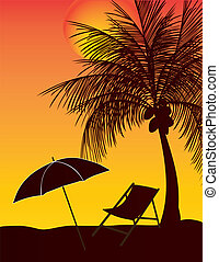 parasol, kokosowe drzewo, rozluźnić