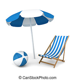 parasol, krzesło, piłka, plaża