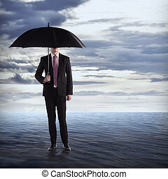 parasol, morze, dzierżawa, człowiek