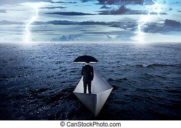 parasol, nawigacja, handlowy, papier, asian, dzierżawa, morze, sam, łódka, człowiek