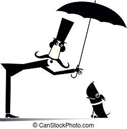 parasol, pies, ilustracja, długi, człowiek, wąsy