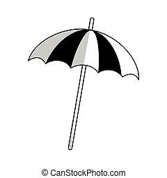 parasol, plage, icône