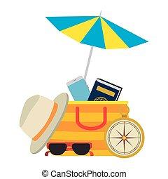 parasol, spędza urlop, przybory, plaża