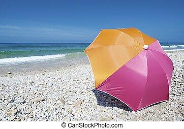 parasol - Umbrella on the beach of San Antolin, Cantabrian...