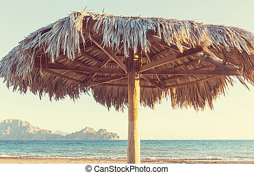 Parasols on the sea beach