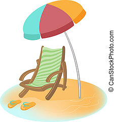 Parasol, sunbed and Flip-Flops