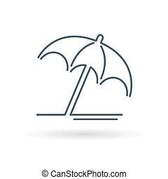 parasol, uciekanie się, poznaczcie., icon., symbol., lato, słońce, plaża