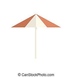 parasol, vetorial, ícone, branco, isolado, fundo
