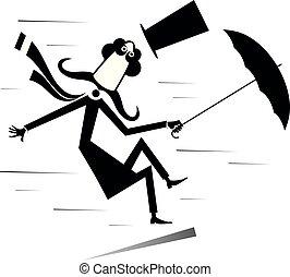 parasol, wiatr, górny, odizolowany, ilustracja, silny, kapelusz, wąsy, człowiek