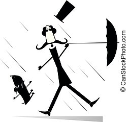 parasol, wiatr, górny pies, ilustracja, silny, kapelusz, wąsy, człowiek