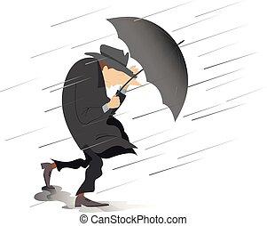 parasol, wiatr, odizolowany, ilustracja, deszcz, silny, kapelusz, człowiek