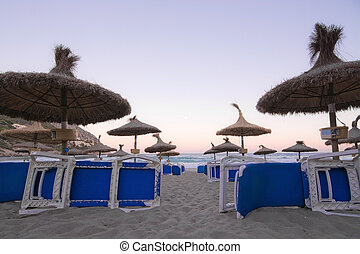 parasole, pieno, spiaggia, luna