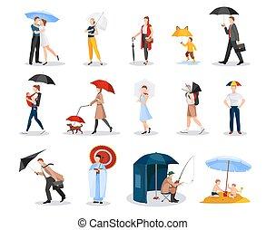 parasole, zbiór, ludzie
